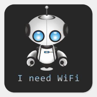 Robot mignon sticker carré