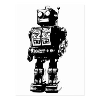 Robot vintage noir et blanc carte postale
