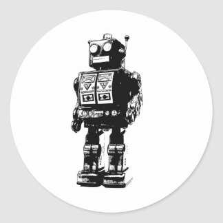 Robot vintage noir et blanc sticker rond