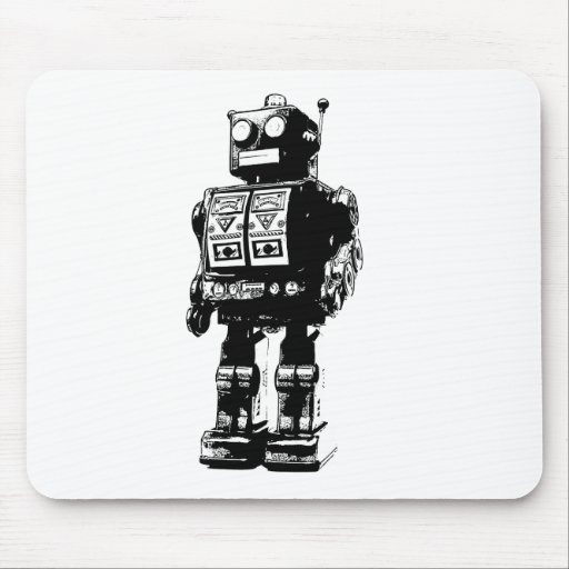 Robot vintage noir et blanc tapis de souris