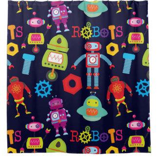 Robots colorés, rideau en douche d'enfants