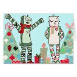 Robots en pastel vintages de vacances avec des carte
