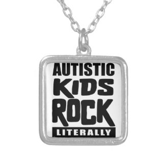 Roche autiste d'enfants de sensibilisation sur pendentif carré