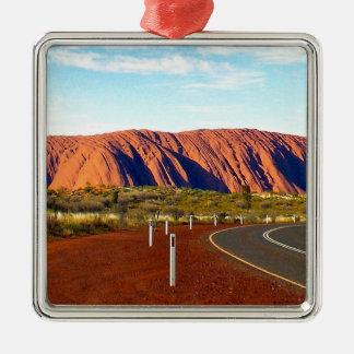 Roche d'Uluru/Ayers - Australie Ornement Carré Argenté