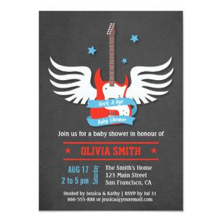 Roche élégante de rock par baby shower secondaire carton d'invitation  11,43 cm x 15,87 cm