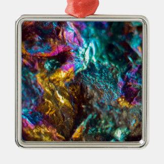 Roche en cristal luisante d'huile d'arc-en-ciel ornement carré argenté