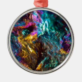 Roche en cristal luisante d'huile d'arc-en-ciel ornement rond argenté
