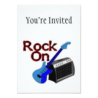 Roche sur la guitare et l'ampère carton d'invitation  12,7 cm x 17,78 cm