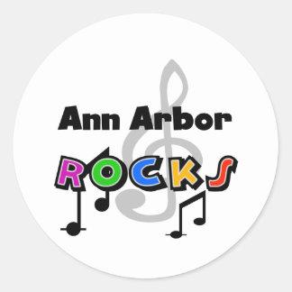 Roches d'Ann Arbor Adhésif Rond