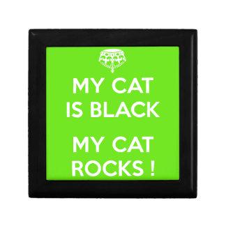 Roches de chat noir petite boîte à bijoux carrée