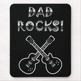 Roches de papa Guitares noires et blanches Tapis De Souris