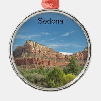 Roches rouges dans Sedona Ornement Rond Argenté