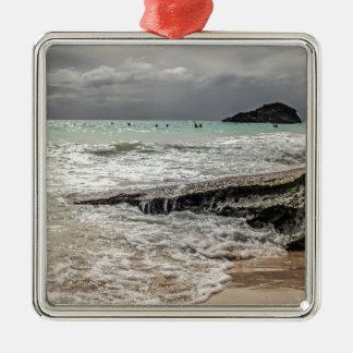 Roches sur le beach02 ornement carré argenté