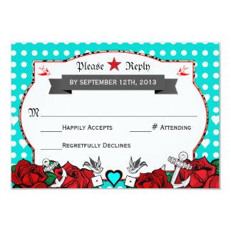 Rockabilly de tatouage de point de polka épousant carton d'invitation 8,89 cm x 12,70 cm