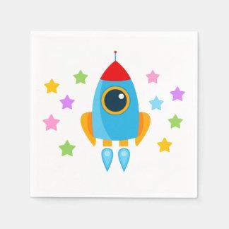 Rocket avec des étoiles serviettes en papier