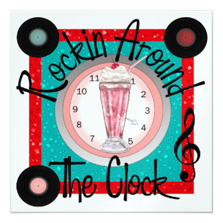 Rockin autour de la partie d'horloge - SRF Carton D'invitation 13,33 Cm