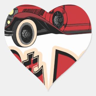 Rod d un rouge ardent autocollant en cœur