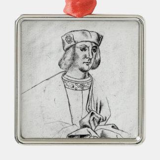 Roi d'Angleterre de Henry VII Ornement Carré Argenté