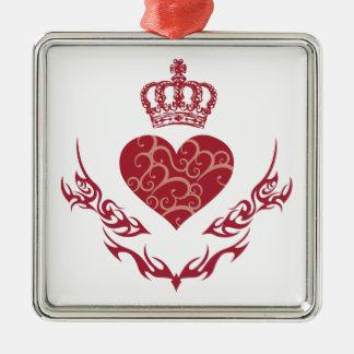Roi de coeur ornement carré argenté