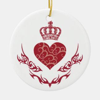 Roi de coeur ornement rond en céramique