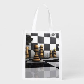 Roi de jeu d'échecs sacs d'épicerie réutilisables