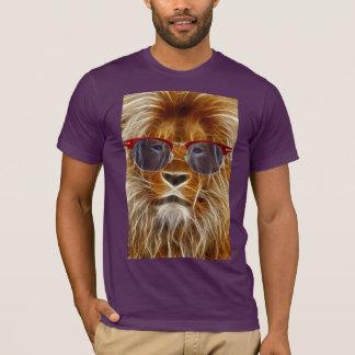 roi de lion de T-shirt sauvage de fractale de chat