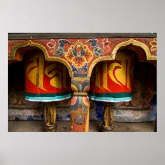 Rôle de prière bouddhiste, Bhutan Poster