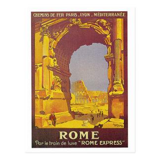 Rome vintage par l'annonce de voyage de train carte postale
