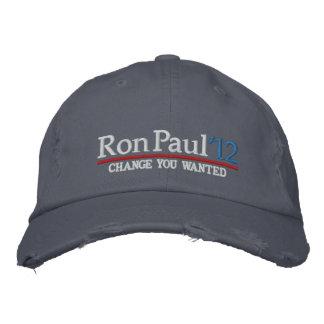 Ron Paul 2012 casquettes brodés personnalisables