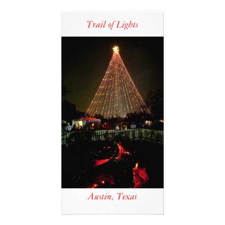 Rondin de Noël, traînée des lumières, Austin, le T Carte Avec Photo