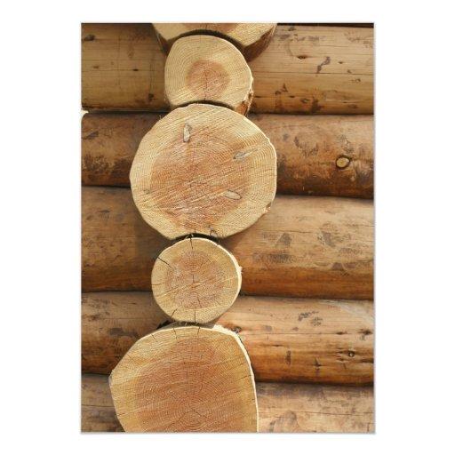 Rondins d'arbre carton d'invitation  12,7 cm x 17,78 cm