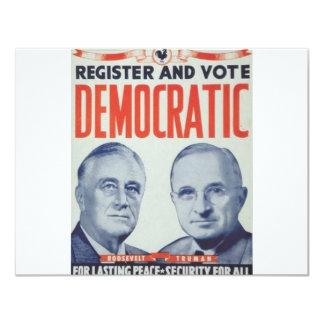 Roosevelt 1940 - Truman Carton D'invitation 10,79 Cm X 13,97 Cm