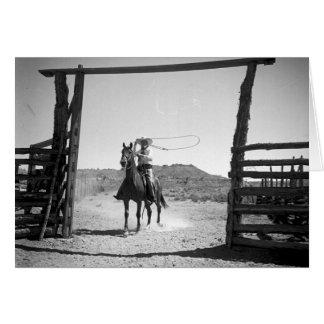 Roping de cowboy carte de vœux