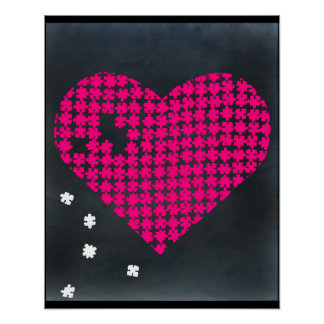 Rose 2 de coeur de puzzle affiche