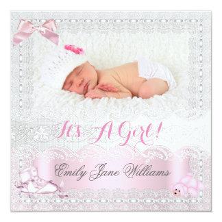 Rose 7 de photo de bébé de faire-part de naissance carton d'invitation  13,33 cm