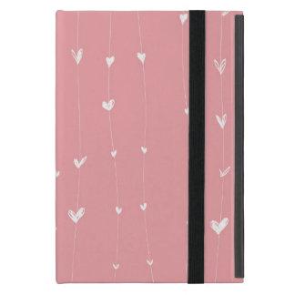 Rose-arrière - plan-avec-blanc-coeur-lignes coques iPad mini
