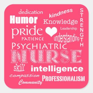 Rose Attribut-Chaud de fierté psychiatrique Sticker Carré