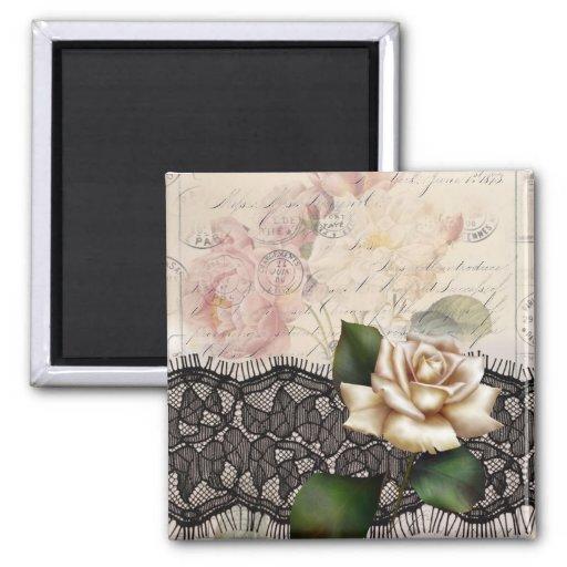 Rose blanc de dentelle noire vintage élégante magnets