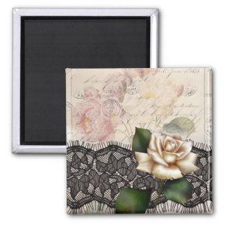Rose blanc de dentelle noire vintage élégante magnet carré