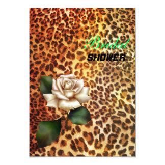 Rose blanc de léopard sauvage de poster de animal carton d'invitation  12,7 cm x 17,78 cm