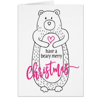 Rose blanc de Noël d'ours mignon drôle de carte