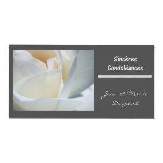 rose blanc de noir de francais de condoleances de photocarte customisée