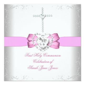 Rose blanc de première sainte communion de fille invitations personnalisées