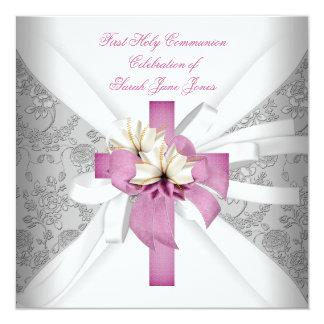Rose blanc de première sainte communion de fille invitation
