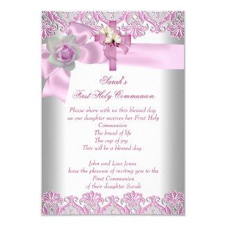 Rose blanc de premières filles croisées de sainte carton d'invitation 8,89 cm x 12,70 cm