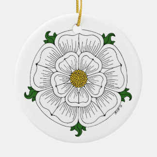 Rose blanc de York Ornement Rond En Céramique