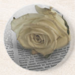 Rose blanc dessous de verre