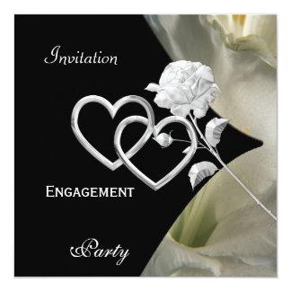 Rose blanc noir élégant élégant 2 de fiançailles carton d'invitation  13,33 cm