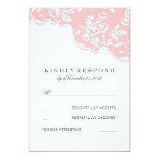 Rose blanc vintage de dentelle épousant RSVP Carton D'invitation 8,89 Cm X 12,70 Cm