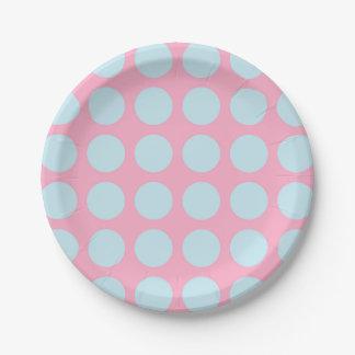 Rose bleu en pastel de pois assiettes en papier